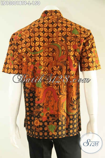 Toko Busana Batik Pria Terlengkap, Sedia Kemeja Lengan Pendek Halus Motif Elegan Jenis Kombinasi Tulis, Cocok Buat Kerja Dan Ke Kondangan [LD13001BT-L]