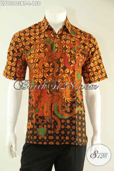 Baju Batik Kondangan Pria Lengan Pendek Halus Motif Elegan Klasik Kombinasi Tulis Asli Solo, Pas Banget Untuk Kerja Maupun Acara Resmi [LD13003BT-L]