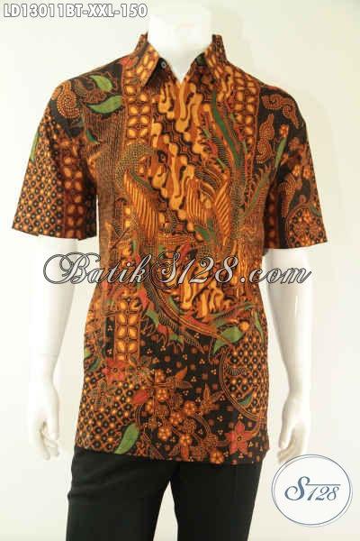 Baju Batik Pria Gemuk Lengan Pendek Khas Solo, Kemeja Batik Istimewa Dengan Harga Terjangkau Cocok Buat Ngantor Maupun Acara Resmi [LD13011BT-XXL]