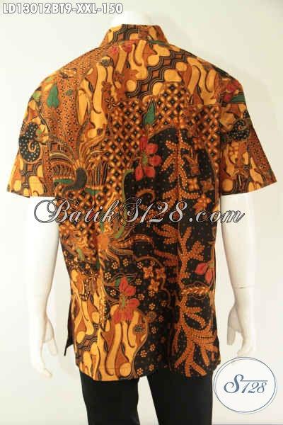 Koleksi Terkini Baju Batik Cowok Gemuk Motif Bagus Bahan Halus Kwalitas Istimewa, Kemeja Batik Kekinian Jenis Kombinasi Tulis Menunjang Penampilan Lebih Berkelas [LD13012BT-XXL]