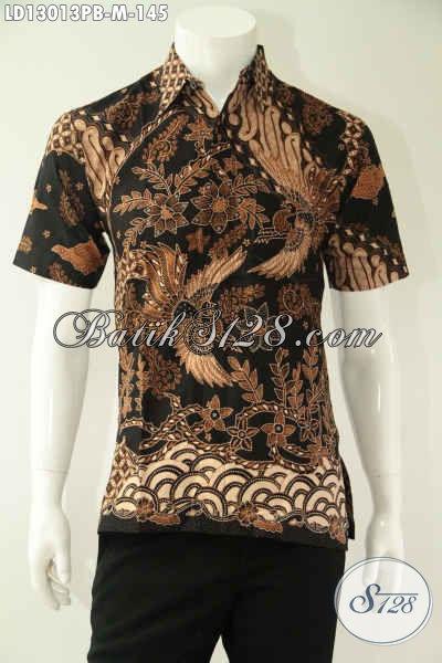 Kemeja Batik Kawula Muda Motif Elegan Jenis Print Cabut, Busana Batik Modis Lengan Pendek Untuk Penampilan Lebih Gagah Dan Tampan [LD13013PB-M]