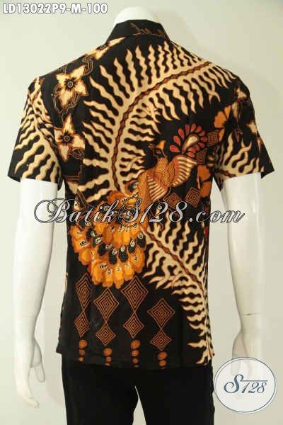 Baju Batik Pria Lengan Pendek Halus Motif Terkini, Busana Batik Kemeja Keren Motif Terbaru Untuk Kerja Tampil Modis Dan Rapi [LD13022P-M]
