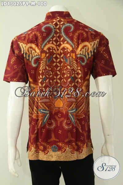 Kemeja Batik Warna Merah Motif Keren Jenis Print, Pakaian Batik Pria Terbaru Model Lengan Pendek Yang Bikin Penampilan Terlihat Gagah Dan Mewah Hanya 100K [LD13025P-M]