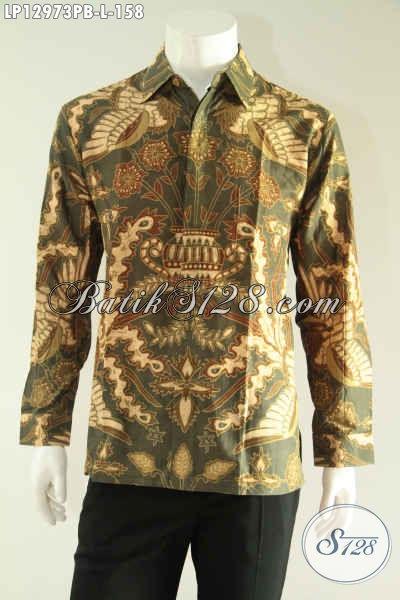 Baju Batik Solo Lengan Panjang Khas Solo, Kemeja Batik Istimewa Dengan Harga Terjangkau Yang Bikin Pria Tampil Gagah Berwibawa [LP12973PB-L]