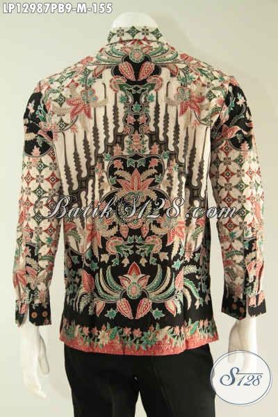 Kemeja Batik Solo Istimewa Lengan Panjang Motif Mewah Jenis Print Cabut, Busana Batik Pria Muda Yang Ingin Tampil Gagah Berwibawa [LP12987PB-M]