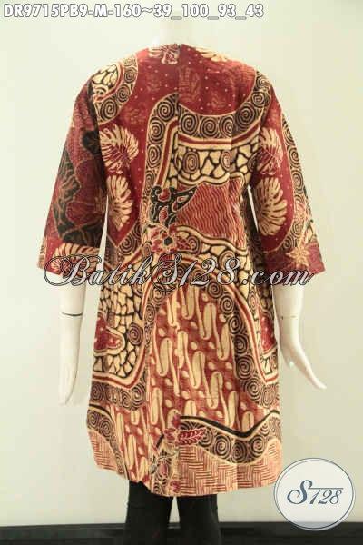 Jual Dress Batik Wanita Kekinian Kombinasi 2 Motif Model Tanpa Kerah Pakai Releting Belakang Lengan 7/8, Modis Buat Kerja Kantoran [DR9715PB-M]