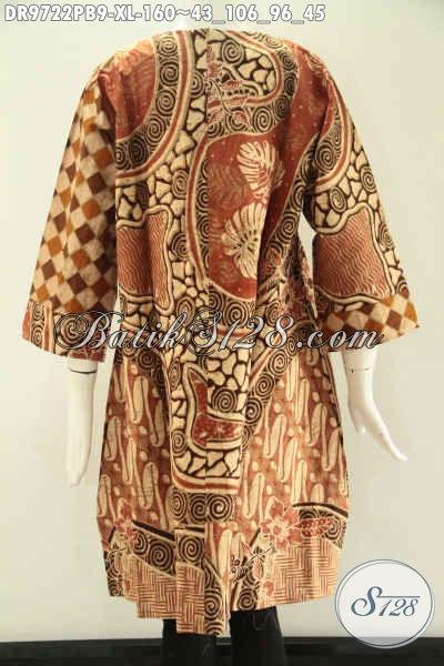 Pusat Baju Batik Solo Online Terlengkap, Jual Dress Lengan 7/8 Di Lengkapi Resleting Belakang Untuk Perempuan Dewasa, Baju Batik Modern Kombinasi 2 Motif Yang Menunjang Penampilan Lebih Berkelas [DR9722PB-XL]