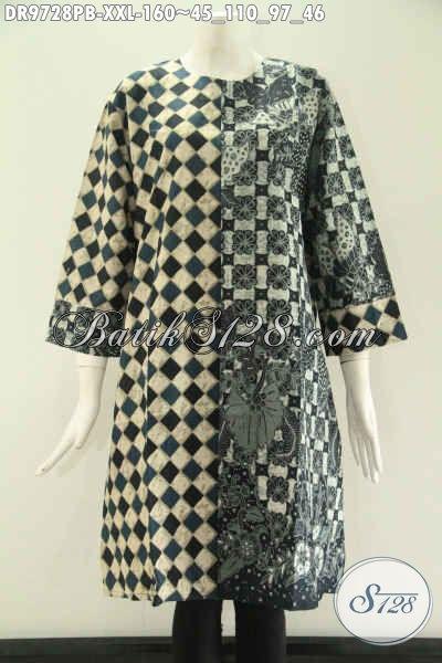 Aneka Busana Batik Wanita Terbaru, Dress Batik Solo Kombinasi 2 Motif Model Resleting Belakang Tanpa Kerah Lengan 7/8, Pilihan Tepat Untuk Seragam Kerja Dan Acara Resmi, Spesial Bagi Yang Berbadan Gemuk  [DR9728PB-XXL]