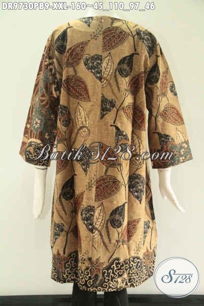 Jual Dress Batik Istimewa Kombinasi 2 Motif, Busana Wanita Tren Masa Kini Model Tanpa Kerah Lengan 7/8 Yang Di Lengkapi Resleting Belakang, Penampilan Terlihat Cantik Mempesona [DR9730PB-XXL]