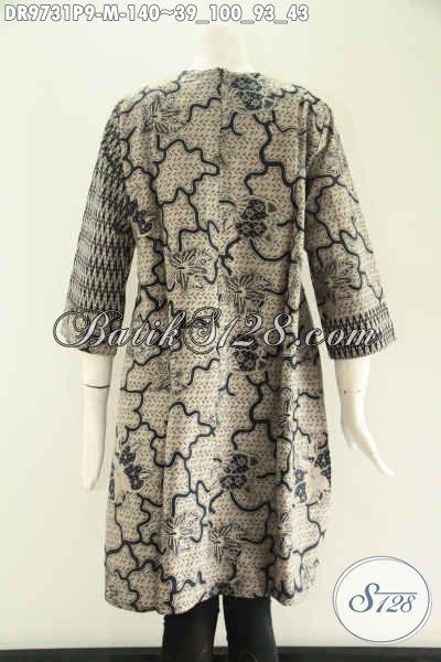 Baju Batik Wanita Terbaru Modis Untuk Acara Resmi Maupun Santai, Model Tanpa Kerah Kombinasi 2 Motif Lengan 7/8 Yang Di Lengkapi Resleting Belakang, Penampilan Lebih Cantik Dan Gaya [DR9731P-M]