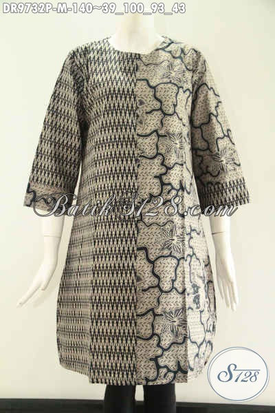 Pakaian Batik Wanita Muda Untuk Kerja Kantoran, Busana Batik Kombinais 2 Motif Model Resleting Belakang Lengan 7/8 Tanpa Kerah, Modis Juga Untuk Jalan-Jalan [DR9732P-M]