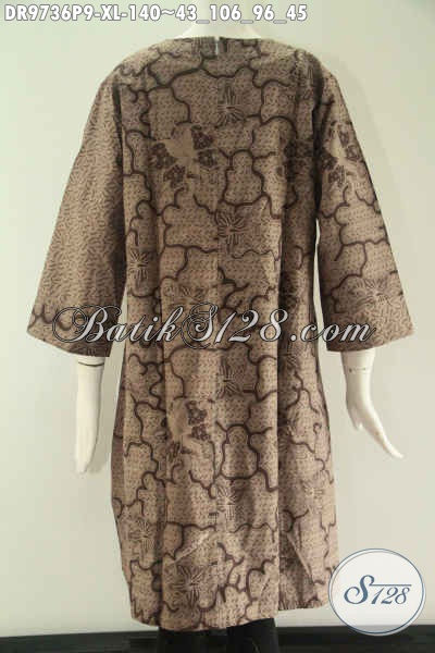 Busana Batik Wanita Dewasa Size XL, Dress Lengan 7/8 Kombinasi 2 Motif Tanpa Kerah Yang Di Lengan Resleting Belakang, Pilihan Tepat Untuk Seragam Kantor Maupun Acara Resmi [DR9736P-XL]