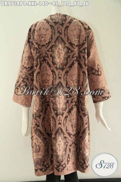 Dress Batik Wanita Gemuk Nan Spesial Kombinasi 2 Motif, Model Lengan 7/8 Resleting Belakang Tanpa Kerah Berpadu Bahan Halus Yang Nyaman Di Pakai [DR9738P-XXL]