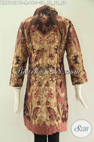 Model Busana Batik Wanita Terkini, Dress Batik Kerah Kancing Depan Sampai Bawah Lengan 7/8 Cocok Untuk Acara Resmi Dan Kerja Tampil Lebih Gaya, Di Jual Online 100 Ribuan [DR9749PB-M]