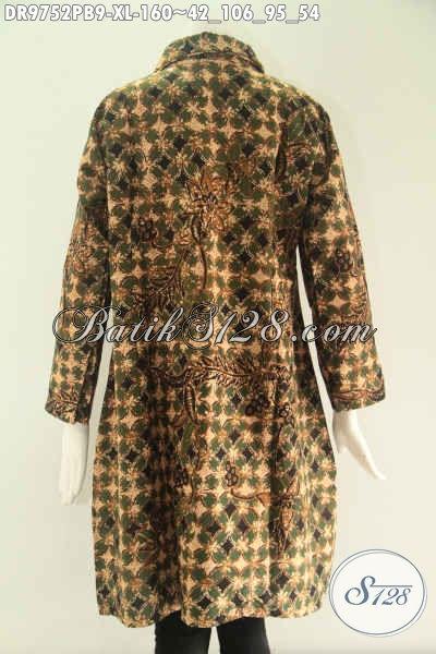 Olshop Pakaian Batik Wanita Terlengkap Koleksinya, Jual Dress Batik Modern Lengan 7/8 Pakai Kerah Di Lengkapi Kancing Depan Sampai Bawah Motif Bagus Hanya 160K [DR9752PB-XL]