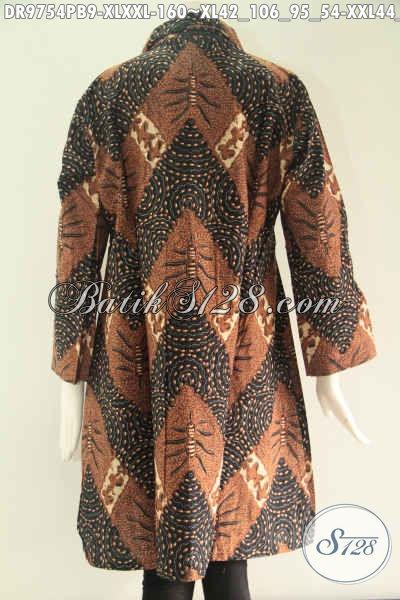 Produk Baju Batik Wanita Tren Model Kekinian, Dress Batik Solo Asli Motif Bagus Bahan Halus Model Kerah Lengan 7/8 Kancing Depan Sampai Bawah, Tampil Cantik Dan Modis [DR9754PB-XL , XXL]