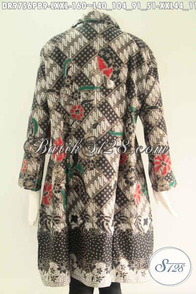 Toko Busana Batik Online Paling Laris, Sedia Dress Batik Modern Buatan Solo Asli Model Kerah Lengan 7/8 Kancing Depan Sampai Bawah, Pilihan Tepat Untuk Penampilan Lebih Berkelas [DR9756PB-L , XXL]