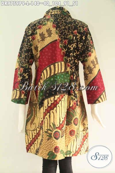 Dress Batik Solo Motif Mewah Harga Murah Jenis Printing, Hadir Dengan Model Kerah Lengan 7/8 Di Lengkapi Kancing Depan Sampai Bawah, Pas Untuk Ke Kantor [DR9759P-L]