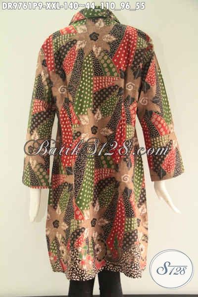 Dress Batik Wanita Gemuk Lengan 7/8, Busana Batik Modern Motif Elegan Jenis Print Pakai Kerah Dan Kancing Depan Sampai Bawah, Penampilan Lebih Cantik Dan Sempurna [DR9761P-XXL]