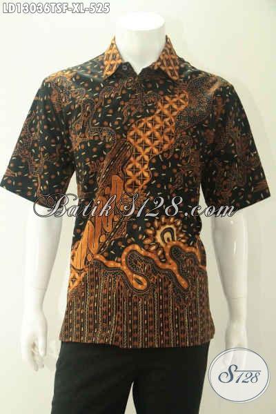 Jual Online Kemeja Batik Lengan Pendek Tulis Soga Khas Jawa Tengah, Baju Batik Solo Premium Full Furing Untuk Pria Dewasa Tampil Gagah Dan Berkelas [LD13036TSF-XL]