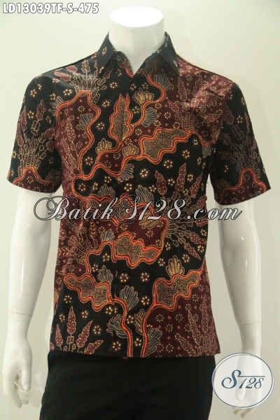 Kemeja Batik Solo Halus Motif Keren Proses Tulis, Busana Batik Lengan Pendek Mewah Pakai Furing, Pilihan Terbaik Untuk Penampilan Nan Sempurna [LD13039TF-S]