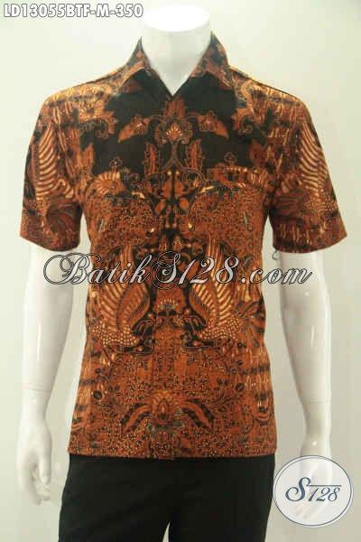 Kemeja Batik Lengan Pendek Kombinasi Tulis Daleman Full Furing, Baju Batik Istimewa Untuk Kerja Dan Acara Resmi Tampil Modis Dan Berkelas [LD13055BTF-M]