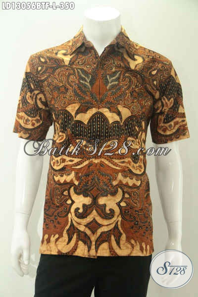 Batik Kemeja Kerja Pria Kantoran Modis Desain Mewah Pakai Furing, Pakaian Batik Kekinian Motif Elegan Kombinasi Tulis, Cocok Juga Untuk Kondangan [LD13056BTF-L]