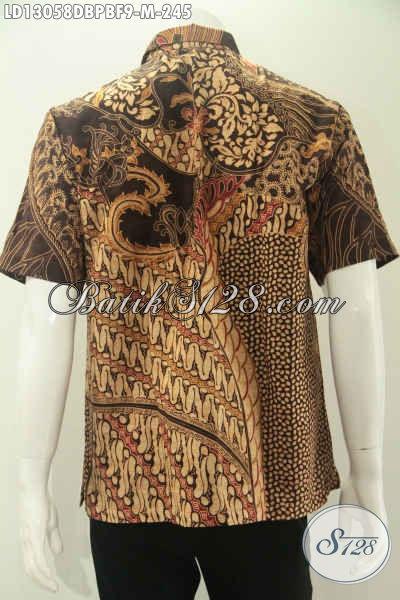 Kemeja Batik Solo Murah Kwalitas Mewah Bahan Dolby Daleman Full Furing, Baju Batik Istimewa Model Lengan Pendek Motif Elegan Klasik Jenis Print Cabut, Penampilan Lebih Mempesona [LD13058DBPBF-M]