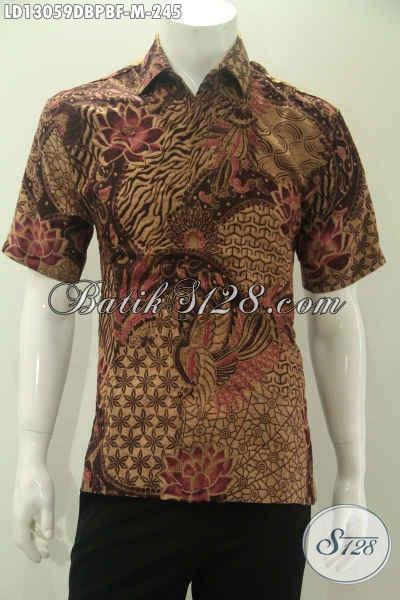 Kemeja Batik Solo Halus Bahan Dolby Yang Nyaman Di Pakai Karena Bertekstur Seperti Sutra ATBM, Baju Batik Pria Lengan Pendek Full Furing Bikin Penampilan Lebih Mewah [LD13059DBPBF-M]