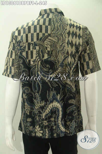 Baju Batik Kerja Modern Pria Model Lengan Pendek Kwalitas Istimewa, Berbahan Dolby Yang Bertekstur Seperti Sutra ATBM Motif Bagus Daleman Pakai Furing Hanya 200 Ribuan Saja [LD13061DBPBF-L]