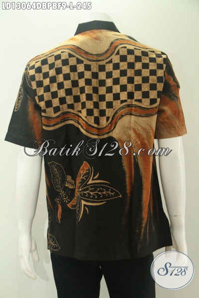 Kemeja Batik Keren Untuk Pria Muda Dan Dewasa Model Lengan Pendek Pakai Furing, Baju Batik Modern Motif Trendy Jenis Print Cabut Bahan Dolby Pas Buat Kerja Tampil Beda [LD13064DBPBF-L]