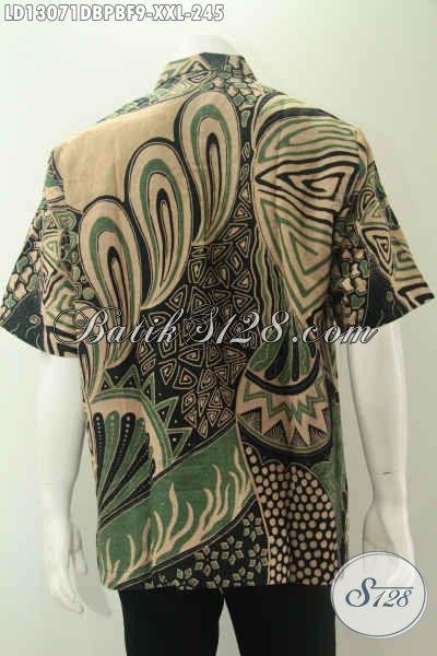 Batik Kemeja Kerja Dan Acara Resmi Untuk Pria Gemuk, Baju Batik Jumbo Model Lengan Pendek Bahan Dolby Motif Elegan Daleman Pakai Furing Hanya 200 Ribuan Saja [LD13071DBPBF-XXL]