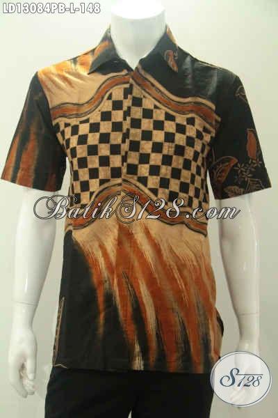 Kemeja Batik Solo Lengan Pendek Kwalitas Bagus Motif Unik Proses Print Cabut, Pakaian Batik Modern Untuk Pria Masa Kini Yang Ingin Tampil Gagah Dan Tampan [LD13084PB-L]