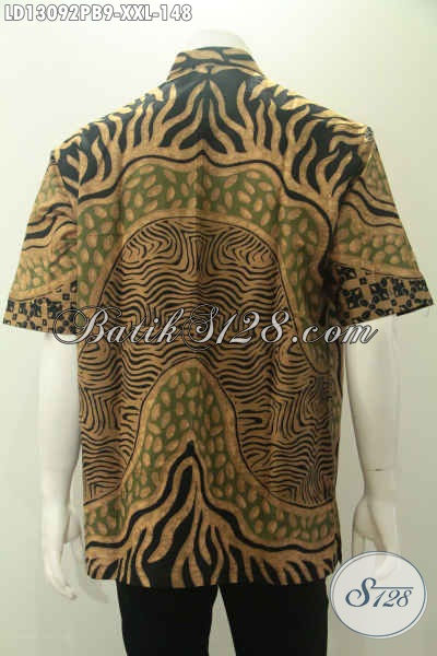 Busana Batik Solo Halus Lengan Pendek Kwalitas Istimewa, Kemeja Batik Jumbo Modis Motif Unik Proses Print Cabut, Pria Gemuk Tampil Keren [LD13092PB-XXL]