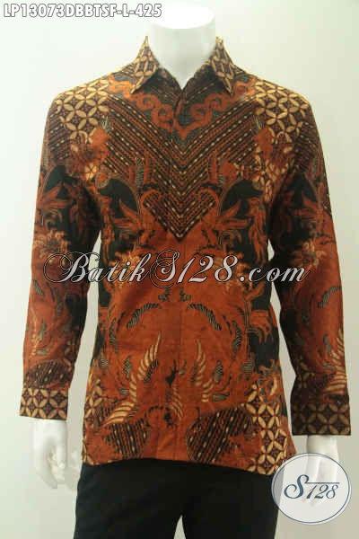 Kemeja Batik Lengan Panjang Motif Elegan Kombinasi Tulis, Baju Batik Bahan Dolby Daleman Full Furing Bikin Penampilan Terlihat Mewah Dan Berwibawa [LP13073DBBTSF-L]