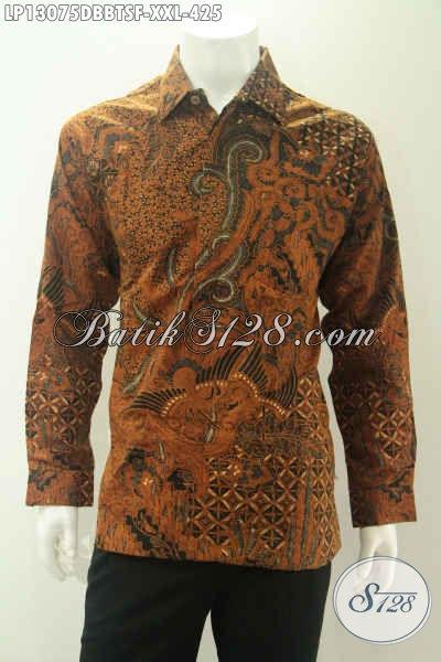 Batik Kemeja Formal Pria Gemuk Motif Bagus Elegan Klasik Kombinasi Tulis Soga, Pakaian Batik Istimewa Bahan Dolby Lengan Panjang Full Furing, Bisa Buat Kondangan [LP13075DBBTSF-XXL]