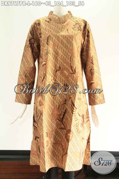 Tunik Batik Seragam Kantor Wanita Karir Nan Berkelas, Model Kerah Shanghai Lengan 7/8 Pakai Resleting Di Bagian Belakang [DR9767PB-L]