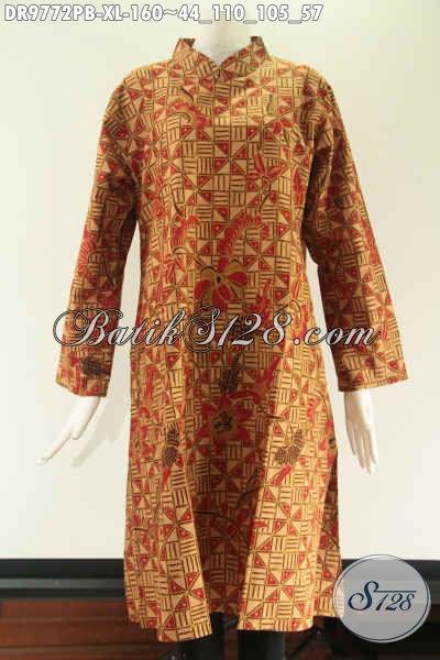 Produk Busana Batik Wanita Yang Cocok Untuk Kerja Dan Acara Resmi, Tunik Batik Lengan 7/8 Motif Elegan Khas Solo Model Kerah Shanghai Pakai Resleting Belakang [DR9772PB-XL]