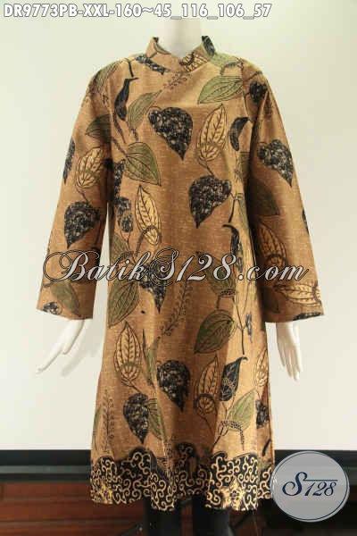 Tunik Batik Spesial Untuk Wanita Gemuk, Berbahan Halus Motif Tren Masa Kini Model Kerah Shanghai Pakai Resleting Belakang Lengan 7/8 [DR9773PB-XXL]