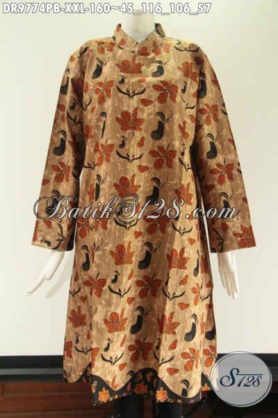 Produk Tunik Batik Wanita Big Size Spesial Buat Yang Berbadan Gemuk, Model Kerah Shanghai Lengan 7/8 Di Lengkapi Resleting Di Bagian Punggung [DR9774PB-XXL]