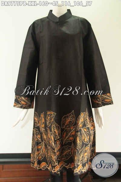Jual Tunik Batik Modern Kwalitas Bagus Harga Terjangkau, Hadir Dengan Model Kerah Shanghai Lengan 7/8 Pakai Resleting Di Bagian Punggung Cocok Buat Kerja [DR9775PB-XXL]