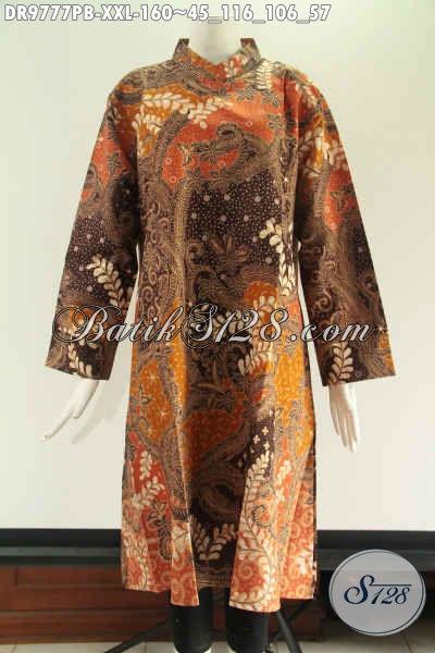 Tunik Batik Desain Kekinian Kwalitas Bagus Berbahan Halus Nyaman Di Pakai, Model Resleting Belakang Kerah Shanghai Lengan 7/8 Hanya 100 Ribuan Saja [DR9777PB-XXL]