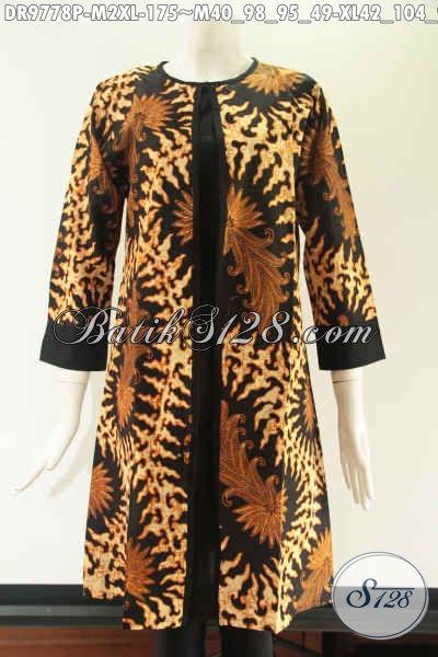Dress Batik Resleting Depan Model Pias Kombinasi Kain Polos Katun Dengan Lengan 7/8, Motif Tren Terbaru Jenis Printing. Menunjang Penampilan Saat Kerja [DR9778P-M , XL]