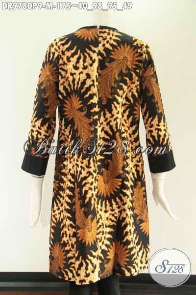 Dress Batik Wanita Kerja Kwalitas Istimewa Kombinasi Kain Polos Katun, Model Pias Pakai Resleting Belakang Dan Lengan 7/8, Cocok Juga Untuk Acara Resmi [DR9780P-M]