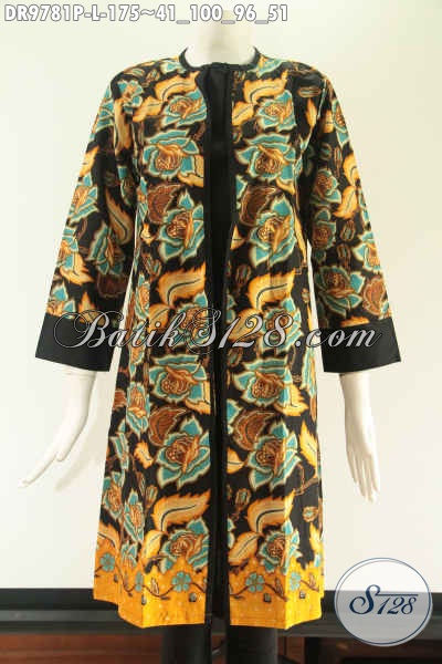 Jual Dress Batik Modern Yang Cocok Untuk Acara Santai Maupun Formal, Model Pias Kombinasi Kain Katun Polos Lengan 7/8 Pakai Resleting Belakang [DR9781P-L]