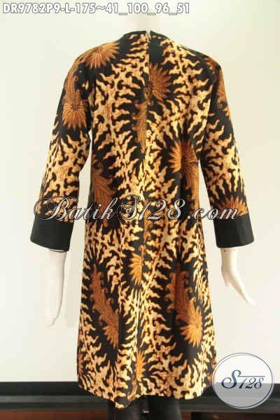 Batik Dress Solo Motif Bagus Berbahan Halus Nyaman Di Pakai, Model Pias Resleting Belakang Kombinasi Kain Katun Polos Lengan 7/8, Pas Banget Buat Ngantor [DR9782P-L]