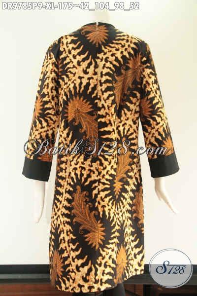 Produk Busana Batik Wanita Tren Masa Kini Cocok Untuk Kerja Maupun Acara Resmi, Model Pias Kombinasi Kain Polos Katun Di Lengkapi Resleting Belakang Lengan 7/8 [DR9785P-XL]