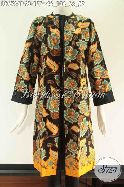 Busana Batik Wanita Tren Masa Kini Yang Bikin Penampilan Cantik Mempesona, Dress Batik Solo Resleting Belakang Model Pias Kombinasi Kain Polos Katun Lengan 7/8 Hanya 100 Ribuan Saja [DR9786P-XL]