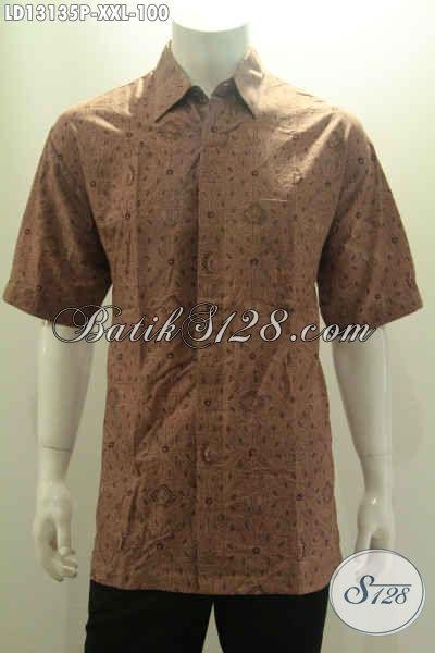 Busana Batik Pria Gemuk Lengan Pendek Motif Trendy Berpadu Dengan Warna Elegan Proses Print, Bisa Untuk Acara Santai Maupun Resmi [LD13135P-XXL]