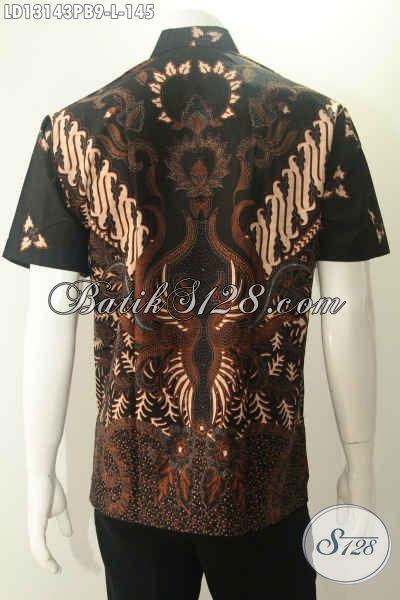 Toko Online Busana Batik Dengan Koleksi Terlengkap, Jual Kemeja Lengan Pendek Batik Solo Halus Jenis Print Cabut Motif Terbaru, Pas Buat Ngantor Maupun Acara Resmi [LD13143PB-L]